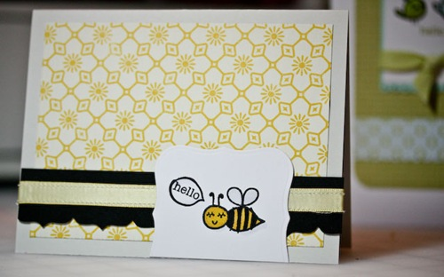 My Cute Stamps Bee Card Grey & yellow