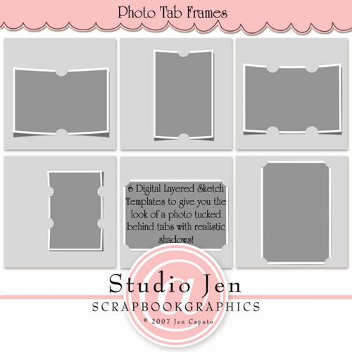 jen caputo photo tab frames digital scrapbooking layered template