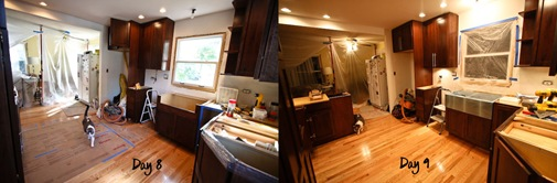Kitchen Renovation Day 8 vs Day 9