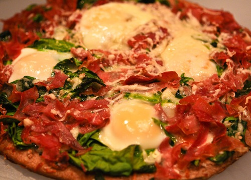 Egg, Ham, and Spinach Pizza - Ellie Krieger