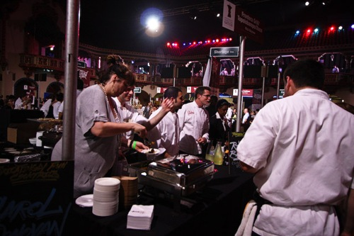 Rick Bayless serving at Taste of the Nations