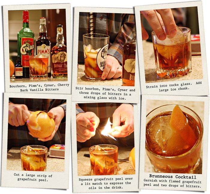 Brunneous Cocktail (Bourbon, Pimms, Cynar)