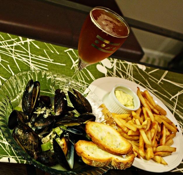 Mussels and Frites w/homemade garlic aioli and Goose Island Matilda