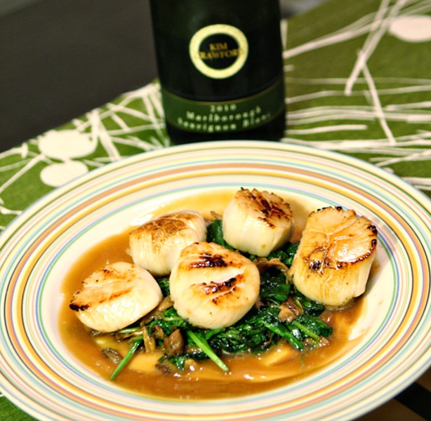Sous Vide Seared Scallops and Oyster Mushrooms over a Soy-Ginger Butter Sauce