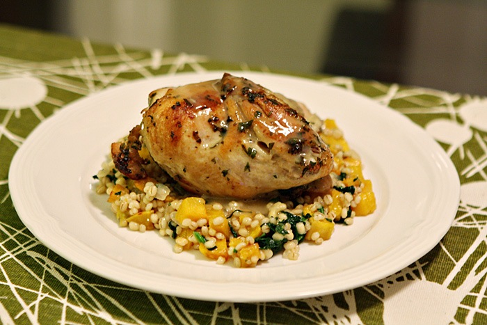 Sous Vide and Skillet-Roasted Chicken over Barley Risotto with Acorn Squash and Spinach