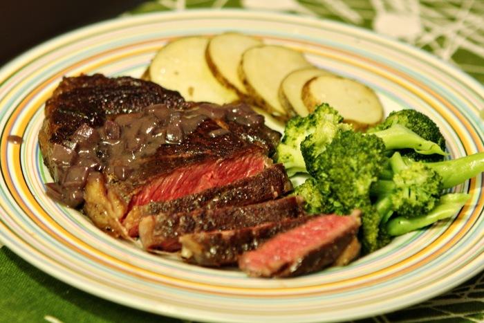 Rib-Eye, Truffled Broccoli, Garlic Rosemary Potatoes.