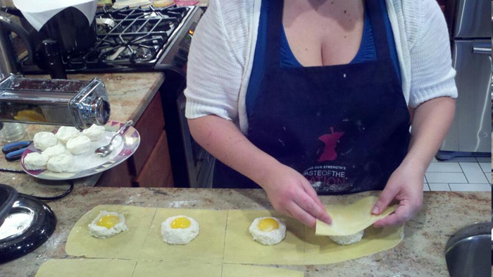 Making Ricotta and Egg Yolk Ravioli from scratch